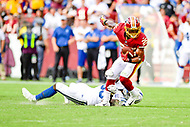 Landover, MD - September 16, 2018: Washington Redskins running back Chris Thompson (25) breaks free of a tackle during game between the Indianapolis Colts and the Washington Redskins at FedEx Field in Landover, MD. The Colts defeated the Redskins 21-9.(Photo by Phillip Peters/Media Images International)
