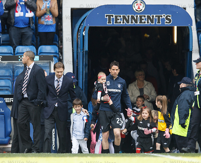 Rangers players come out for their lap of honour, Sasa Papac and Neil Alexander