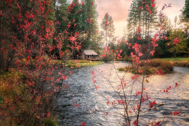 Cabin on Metolius River with fall color, Oregon