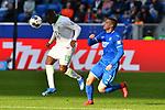 15.02.2020, PreZero-Arena, Sinsheim, GER, 1. FBL, TSG 1899 Hoffenheim vs. VFL Wolfsburg, <br /> <br /> DFL REGULATIONS PROHIBIT ANY USE OF PHOTOGRAPHS AS IMAGE SEQUENCES AND/OR QUASI-VIDEO.<br /> <br /> im Bild: Jerome Roussillon (VFL Wolfsburg #15) gegen Pavel Kaderabek (TSG Hoffenheim #3)<br /> <br /> Foto © nordphoto / Fabisch