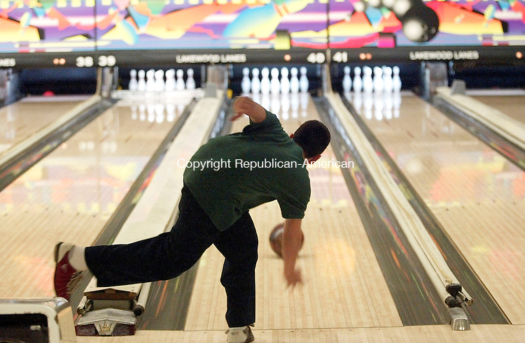 WATERBURY, CT - 02 MARCH 2005 - 030205JS08--Mike Laurencelle, a sophomore at Holy Cross, takes his turn during the Holy Cross-Sacred Heart bowling competition Wednesday at Lakewood Lanes in Waterbury.   --Jim Shannon Photo --Sacred Heart; Holy Cross; Lakewood Lanes; Waterbury; Mike Laurencelle are CQ