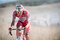 race leader Simon Pellaud (SUI/Androni Giocattoli - Sidermec)<br /> <br /> 14th Strade Bianche 2020<br /> Siena > Siena: 184km (ITALY)<br /> <br /> delayed 2020 (summer!) edition because of the Covid19 pandemic > 1st post-Covid19 World Tour race after all races worldwide were cancelled in march 2020 by the UCI
