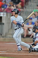 West Michigan Whitecaps left fielder Dylan Rosa (24) swings at pitch against the Cedar Rapids Kernels at Veterans Memorial Stadium on May 5, 2018 in Cedar Rapids, Iowa.  (Dennis Hubbard/Four Seam Images)