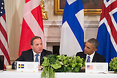 Swedish Prime Minister Stefan Lofven speaks during a multilateral meeting with United States President Barack Obama (R) and fellow Nordic country leaders, in the State Dinning Room at the White House in Washington, D.C. on May 13, 2016. President Obama met with Sweden Prime Minister Stefan Lofven, Denmark Prime Minister Lars Lokke Rasmussen, Iceland Prime Minister Sigurdur Ingi Johannsson, Norway Prime Minister Erna Solberg and Finland President Sauli Niinisto to discuss economic, environmental and security concerns in the Nordic region. <br /> Credit: Kevin Dietsch / Pool via CNP