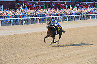 Sporting Chance (no. 6), ridden by Luis Saez and trained by D. Wayne Lukas, wins the 113th running of the grade 1 Hopeful Stakes for two year olds on September 04, 2017 at Saratoga Race Course in Saratoga Springs, New York. (Bob Mayberger/Eclipse Sportswire)