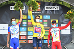 The final overall general classification podium 1st Daniel Martinez (COL) EF Pro Cycling, in 2nd place Thibaut Pinot (FRA) Groupama-FDJ and 3rd place Guillaume Martin (FRA) Cofidis at the end of Stage 5 of Criterium du Dauphine 2020, running 153.5km from Megeve to Megeve, France. 16th August 2020.<br /> Picture: ASO/Alex Broadway | Cyclefile<br /> All photos usage must carry mandatory copyright credit (© Cyclefile | ASO/Alex Broadway)