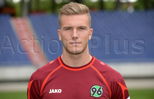 11.07.2013. Hannover, Germany.  Player Andre Hoffmann of German Bundesliga club Hannover 96 during the official photocall for the season 2013-14 in the HDI Arena in Hannover (Lower Saxony).