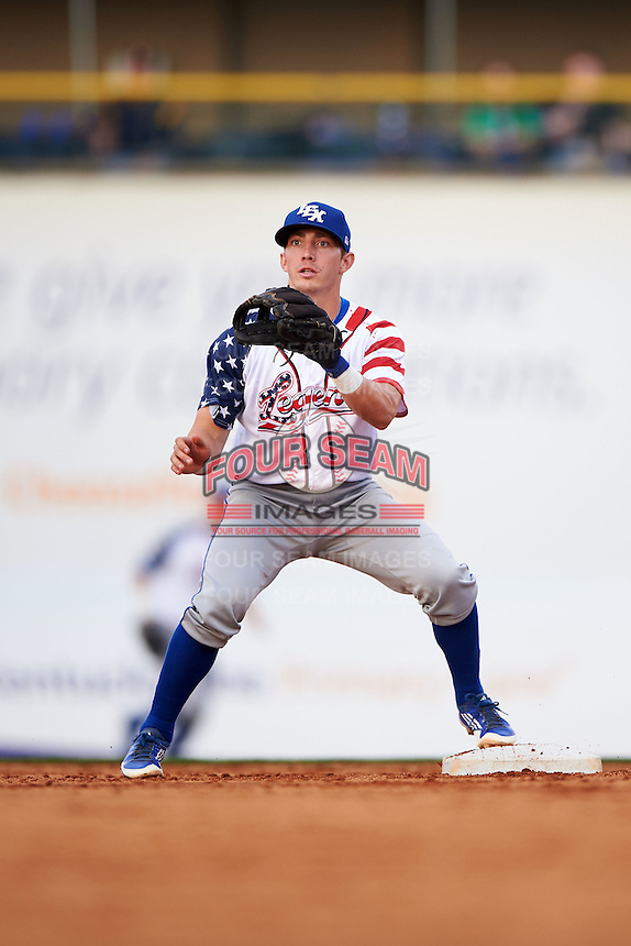 Lexington Legends second baseman Corey Toups (2) waits for a throw during a game against the Hagerstown Suns on May 22, 2015 at Whitaker Bank Ballpark in Lexington, Kentucky.  Lexington defeated Hagerstown 5-1.  (Mike Janes/Four Seam Images)