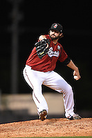 Nashville Sounds pitcher Brent Leach (30) delivers a pitch during the second game of a double header against the Omaha Storm Chasers on May 22, 2014 at Herschel Greer Stadium in Nashville, Tennessee.  Nashville defeated Omaha 13-4.  (Mike Janes/Four Seam Images)
