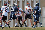 Beverly Hills, CA 04/12/10 -  Christopher Tesoriero (Loyola # 25), Alexander Kutsukos (Loyola # 2) and Cody Cohen (Beverly Hills # 42) in action during the Loyola-Beverly Hills Boys Varsity Lacrosse game at Beverly Hills High School, Loyola defeated Beverly Hills 16-0.
