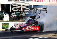 May 16, 2014; Commerce, GA, USA; NHRA top fuel dragster driver Spencer Massey during qualifying for the Southern Nationals at Atlanta Dragway. Mandatory Credit: Mark J. Rebilas-USA TODAY Sports