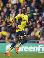 Isaac Buckley-Ricketts (on loan from Manchester City) of Oxford United comes on as a substitute on 29 minutes then is taken off to be replaced at Half Time during the Sky Bet League 1 match between Oxford United and Oldham Athletic at the Kassam Stadium, Oxford, England on 7 April 2018. Photo by Andy Rowland.