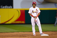 Niko Vasquez (7) of the Springfield Cardinals stands on second base after hitting a double during a game against Frisco RoughRiders on April 14, 2011 at Hammons Field in Springfield, Missouri.  Photo By David Welker/Four Seam Images.