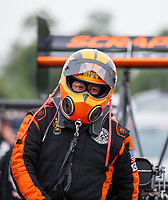 Aug 19, 2018; Brainerd, MN, USA; NHRA top fuel driver Mike Salinas during the Lucas Oil Nationals at Brainerd International Raceway. Mandatory Credit: Mark J. Rebilas-USA TODAY Sports