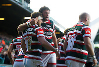 Brendon O'Connor of Leicester Tigers celebrates scoring a first half try with team-mate Dom Barrow. European Rugby Champions Cup match, between Leicester Tigers and Racing 92 on October 23, 2016 at Welford Road in Leicester, England. Photo by: Patrick Khachfe / JMP