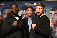 Joshua Buatsi (L), Eddie Hearn and Liam Conroy during a Press Conference at the Grange City Hotel on 6th February 2019