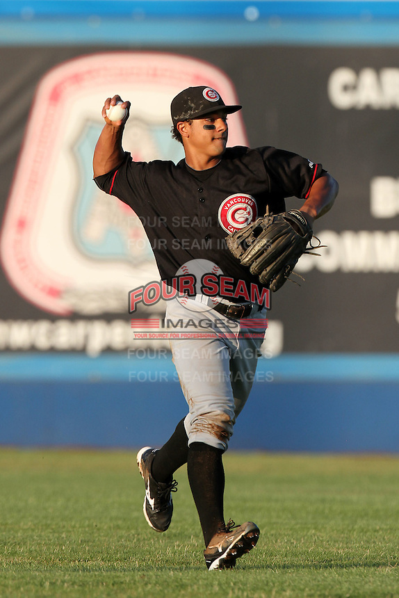 Vancouver Canadians outfielder Jonathan Jones #18 during a game against the Yakima Bears at Yakima County Stadium on August 11, 2011 in Yakima,Washington. Yakima defeated Vancouver 3-1.(Larry Goren/Four Seam Images)