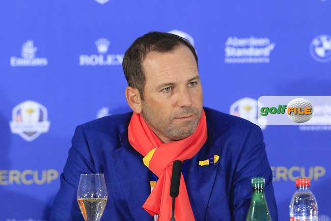 Sergio Garcia (Team Europe) at the press conference after Europe win the Ryder Cup 17.5 to 10.5 at the end of Sunday's Singles Matches at the 2018 Ryder Cup 2018, Le Golf National, Ile-de-France, France. 30/09/2018.<br /> Picture Eoin Clarke / Golffile.ie<br /> <br /> All photo usage must carry mandatory copyright credit (© Golffile | Eoin Clarke)