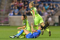 Bridgeview, IL - Wednesday August 16, 2017: Lauren Barnes, Christen Press, Merritt Mathias during a regular season National Women's Soccer League (NWSL) match between the Chicago Red Stars and the Seattle Reign FC at Toyota Park. The Seattle Reign FC won 2-1.