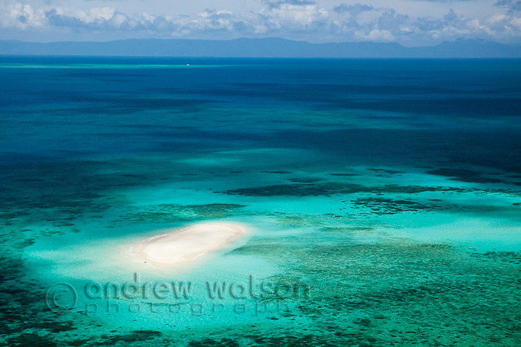 Aerial view of Vlassof Cay, near Cairns.  Great Barrier Reef Marine Park, Queensland, Australia