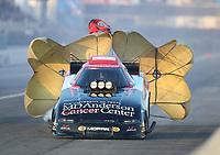 Feb 8, 2020; Pomona, CA, USA; NHRA funny car driver Tommy Johnson Jr during qualifying for the Winternationals at Auto Club Raceway at Pomona. Mandatory Credit: Mark J. Rebilas-USA TODAY Sports