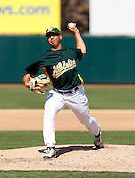 Gio Gonzalez - Oakland Athletics - 2009 spring training.Photo by:  Bill Mitchell/Four Seam Images
