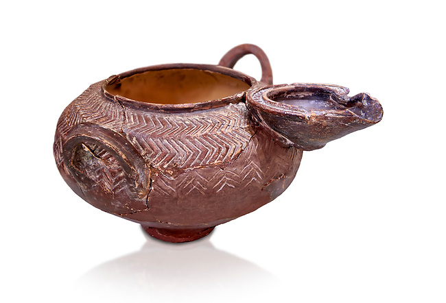 Minoan pottery spouted vessel with incised design, 1900-1700 BC,  Hagia Triada, Heraklion Archaeological Museum, white background.