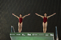 Democratic People's Republic of Korea's Kim Mi Rae and Mi Jin Jo compete in the Women's 10m Synchro Platform<br /> <br /> Photographer Hannah Fountain/CameraSport<br /> <br /> FINA/CNSG Diving World Series 2019 - Day 1 - Friday 17th May 2019 - London Aquatics Centre - Queen Elizabeth Olympic Park - London<br /> <br /> World Copyright © 2019 CameraSport. All rights reserved. 43 Linden Ave. Countesthorpe. Leicester. England. LE8 5PG - Tel: +44 (0) 116 277 4147 - admin@camerasport.com - www.camerasport.com
