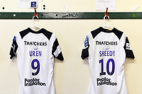 A general view of the jerseys of Andy Uren and Callum Sheedy of Bristol Bears in the away changing rooms. Gallagher Premiership match, between Leicester Tigers and Bristol Bears on April 27, 2019 at Welford Road in Leicester, England. Photo by: Patrick Khachfe / JMP