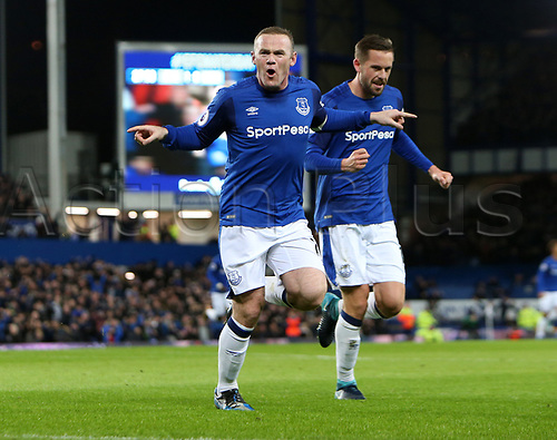 29th November 2017, Goodison Park, Liverpool, England; EPL Premier League Football, Everton versus West Ham United; Wayne Rooney of Everton celebrates his second goal giving Everton a 2-0 lead after 28 minutes