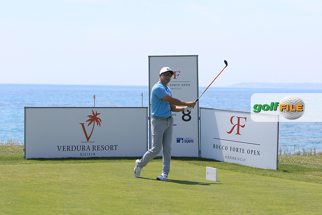 Trevor Immelman (RSA) on the 8th tee during Round 1 of The Rocco Forte Open  at Verdura Golf Club on Thursday 18th May 2017.<br /> Photo: Golffile / Thos Caffrey.<br /> <br /> All photo usage must carry mandatory copyright credit     (&copy; Golffile | Thos Caffrey)