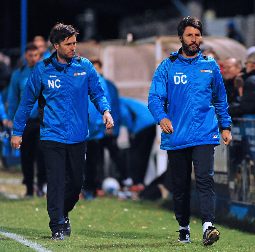 Lincoln City&rsquo;s assistant manager Nicky Cowley and Lincoln City manager Danny Cowley <br /> <br /> Photographer Andrew Vaughan/CameraSport<br /> <br /> Football - The Emirates FA Cup 4th Qualifying Round Replay - Guiseley v Lincoln City - Tuesday 18th October 2016 - Nethermore Park - Guiseley<br />  <br /> World Copyright &copy; 2016 CameraSport. All rights reserved. 43 Linden Ave. Countesthorpe. Leicester. England. LE8 5PG - Tel: +44 (0) 116 277 4147 - admin@camerasport.com - www.camerasport.com