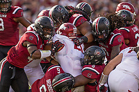Hawgs Illustrated/BEN GOFF <br /> South Carolina defenders bring down Devwah Whaley (21), Arkasnas running back, in the first quarter Saturday, Oct. 7, 2017, during the game at Williams-Brice Stadium in Columbia, S.C.