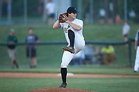 Mooresville Spinners relief pitcher Noah Eaker (24) (Catawba Valley CC) in action against the Carolina Venom at Moor Park on June 22, 2020 in Mooresville, NC.  The Spinners defeated the Venom 7-2. (Brian Westerholt/Four Seam Images)