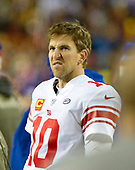 New York Giants quarterback Eli Manning (10) on the sidelines late in the fourth quarter of the game against the Washington Redskins at FedEx Field in Landover, Maryland on Thursday, November 23, 2017.  The Redskins won the game 20 - 10.<br /> Credit: Ron Sachs / CNP<br /> (RESTRICTION: NO New York or New Jersey Newspapers or newspapers within a 75 mile radius of New York City)