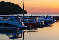 The Sister Bay Marina sits guiet and still for a spring sunset over Green Bay, Sister Bay, Door County, Wisconsin