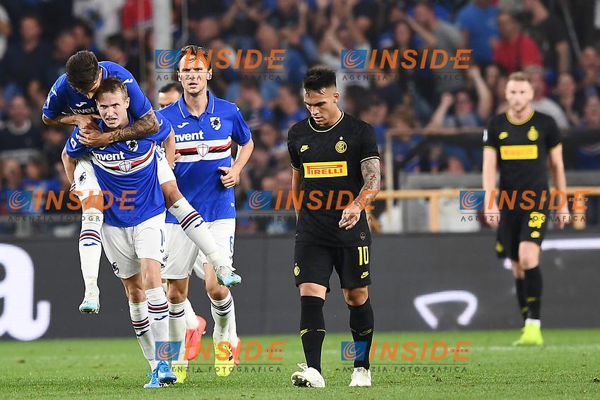 Jokub Jankto of Sampdoria celebrates after scoring the goal of 11-2 for his side <br /> Genova 28-09-2019 Stadio Luigi Ferraris Football Serie A 2018/2019 Sampdoria - FC Internazionale  <br /> Photo Image Sport / Insidefoto