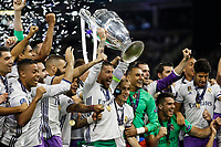 Sergio Ramos of Real Madrid lifts the Champions League trophy after the UEFA Champions League Final match between Juventus and Real Madrid at the Principality Stadium on June 3rd 2017 in Cardiff, Wales. <br /> <br /> Foto Daniel Chesterton / Panoramic / Insidefoto