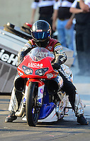 Oct. 5, 2012; Mohnton, PA, USA: NHRA pro stock motorcycle rider Craig Treble during qualifying for the Auto Plus Nationals at Maple Grove Raceway. Mandatory Credit: Mark J. Rebilas-