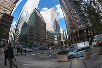 A view of the intersection of 53rd Street and Lexington Avenue, including the Lipstick Building and Citigroup Center, in New York City