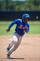 GCL Mets second baseman David Lozano (11) runs the bases during a game against the GCL Nationals on August 4, 2018 at FITTEAM Ballpark of the Palm Beaches in West Palm Beach, Florida.  GCL Nationals defeated GCL Mets 7-4.  (Mike Janes/Four Seam Images)