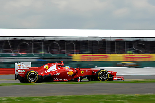 08.07.2012 Towcester, England. Fernando Alonso of Spain and Scuderia Ferrari in action during the Race at the Santander British Grand Prix, Round 9 of the 2012 FIA Formula 1 World Championship at Silverstone Circuit.