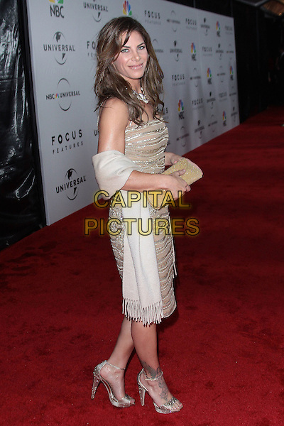 JILLIAN MICHAELS.NBC Universal's 67th Annual Golden Globes After Party held at The Beverly Hilton, Beverly Hills, CA, USA..January 17th, 2009.globe full length brown beige cream sequins sequined dress strapless white wrap clutch bag side.CAP/ADM/TC.©T.Conrad/Admedia/Capital Pictures