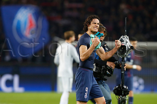 February 14th 2017, Parc des Princes, Paris, France; UEFA Champions League football, PSG versus Barcelona;  Goal celebrations from Edinson Cavani (PSG)