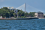 Historic Charleston Battery Row in Downtown Charleston South Carolina White Point Gardens Arthur Ravenel Jr Bridge