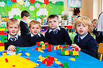 Michael Daly, Charlie Brosnan, Joey Kelly and Eoin Brosnan starting to build their empire with lego on their first day of school in Currow NS on tuesday