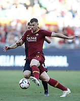 Football, Serie A: AS Roma - Cagliari, Olympic stadium, Rome, April 27, 2019. <br /> Roma's Edin Dzeko (r) in action with Cagliari's Nicol&ograve; Barella (l) during the Italian Serie A football match between AS Roma and Cagliari, on April 27, 2019. <br /> UPDATE IMAGES PRESS/Isabella Bonotto