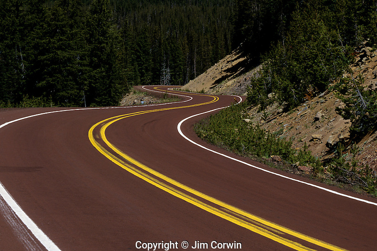 Cascade Lakes Highway windy road Central Oregon State USA