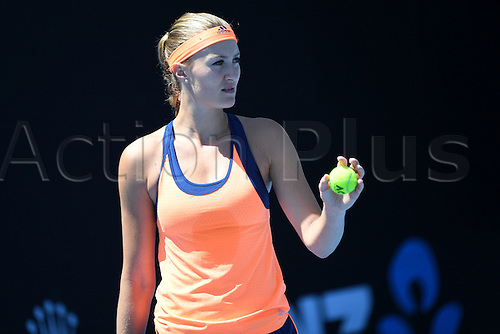 January 15th 2017, Melbourne Park, Melbourne, Australia; Australian Open Tennis, Press Conference and Practice Day;  Kristina Mladenovic (FRA) during the practice session