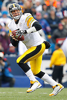 ORCHARD PARK, NY - NOVEMBER 28:  Ben Roethlisberger #7 of the Pittsburgh Steelers drops back to pass during the game against the Buffalo Bills on November 28, 2010 at Ralph Wilson Stadium in Orchard Park, New York.  (Photo by Jared Wickerham/Getty Images)